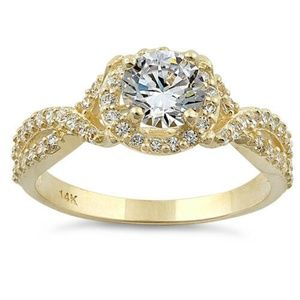 14K Solid Gold CZ Infinity/Halo Engagement Ring